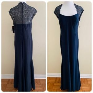 Xscape Gown Navy Lace Inset Mermaid Pageant